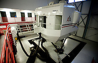 An 737 flight simulator at American Airlines near Dallas-Fort Worth International Airport (DFW) in Dallas, Texas, Friday, May 14, 2010. American Airlines uses hydrolics on their older simulators but have changed to all electronics for newer models...PHOTO: MATT NAGER