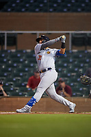 Mesa Solar Sox Miguel Amaya (33), of the Chicago Cubs organization, at bat during an Arizona Fall League game against the Salt River Rafters on September 19, 2019 at Salt River Fields at Talking Stick in Scottsdale, Arizona. Salt River defeated Mesa 4-1. (Zachary Lucy/Four Seam Images)