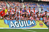 BARRANQUILLA- COLOMBIA -23 -04-2016: Los jugadores de Atletico Junior posan para una foto durante partido entre Atletico Junior y Boyaca Chico FC, de la fecha 14 de la Liga Aguila I-2016, jugado en el estadio Metropolitano Roberto Melendez de la ciudad de Barranquilla. / The players of Atletico Junior pose for a photo, during a match between Atletico Junior and Boyaca Chico FC, for date 14 of the Liga Aguila I-2016 at the Metropolitano Roberto Melendez Stadium in Barranquilla city, Photo: VizzorImage  / Alfonso Cervantes / Cont.
