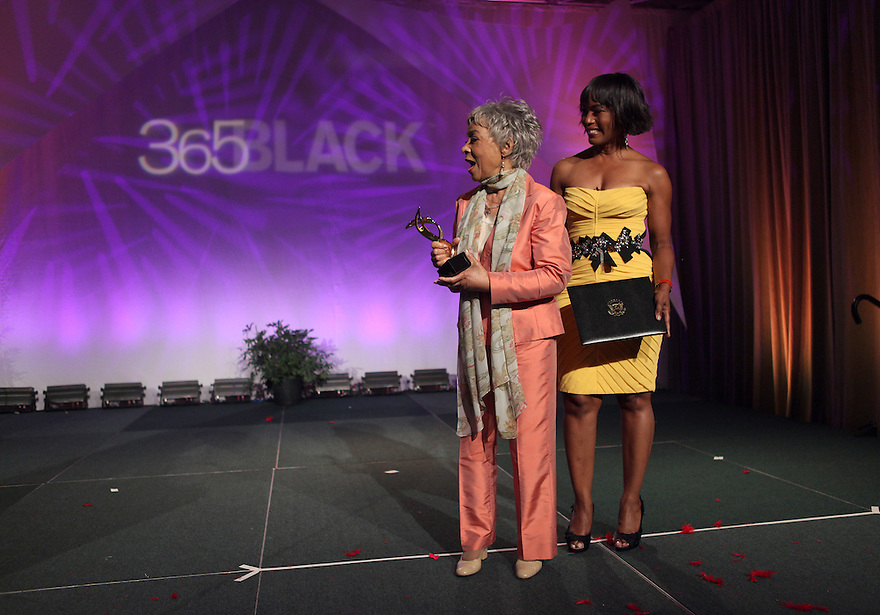 Honoree actress/author Ruby Dee receives her award from host Angela Bassett are at the 8th Annual 365 Black Awards at the Ernest N. Morial Convention Center in New Orleans, LA on Friday July 1,2011.(AP Photo/ Donald Traill)