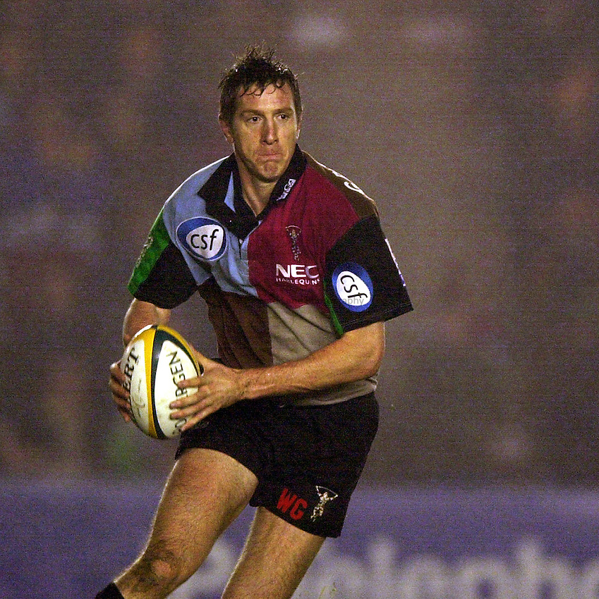 Photo. Richard Lane.NEC Harlequins v Leeds Tykes at the Stoop. Powergen Cup. 21/12/2002.Will Greenwood