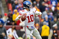 Landover, MD - December 9, 2018: New York Giants quarterback Eli Manning (10) drops back to pass during game between the New York Giants and Washington Redskins at FedEx Field in Landover, MD. The Giants defeated the Redskins 40-16 dropping the Redskins to 6-7 on the season. (Photo by Phillip Peters/Media Images International)