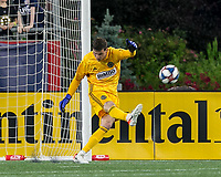 FOXBOROUGH, MA - JUNE 27: Matt Freese #1 goal kick during a game between Philadelphia Union and New England Revolution at Gillette Stadium on June 27, 2019 in Foxborough, Massachusetts.
