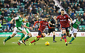 4th November 2017, Easter Road, Edinburgh, Scotland; Scottish Premiership football, Hibernian versus Dundee; Dundee's Faissal El Bakhtaoui races past Hibernian's Paul Hanlon and John McGinn