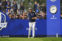 Webb Simpson (Team USA) on the 4th tee during the Friday Foursomes at the Ryder Cup, Le Golf National, Ile-de-France, France. 28/09/2018.<br /> Picture Thos Caffrey / Golffile.ie<br /> <br /> All photo usage must carry mandatory copyright credit (&copy; Golffile | Thos Caffrey)
