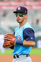 Colorado Springs Sky Sox first baseman Jacob Nottingham (27) warms up in the outfield prior to a Pacific Coast League game against the Iowa Cubs on June 23, 2018 at Principal Park in Des Moines, Iowa. Colorado Springs defeated Iowa 4-2. (Brad Krause/Four Seam Images)