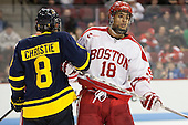 Brian Christie (Merrimack - 8), Jordan Greenway (BU - 18) - The Boston University Terriers defeated the visiting Merrimack College Warriors 4-0 (EN) on Friday, January 29, 2016, at Agganis Arena in Boston, Massachusetts.