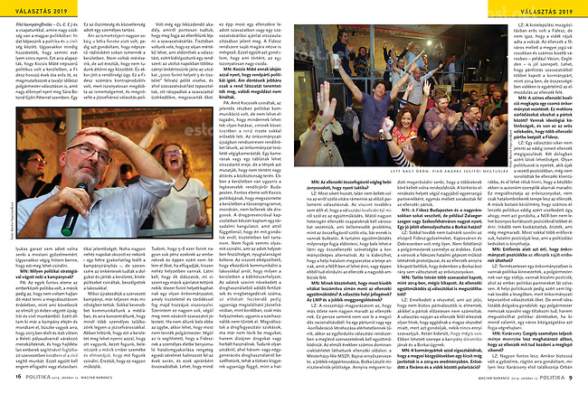 Magyar Narancs (Hungarian weekly magazine) on oppositional victory in local elections, Budapest, Hungary, 10.2019.<br />