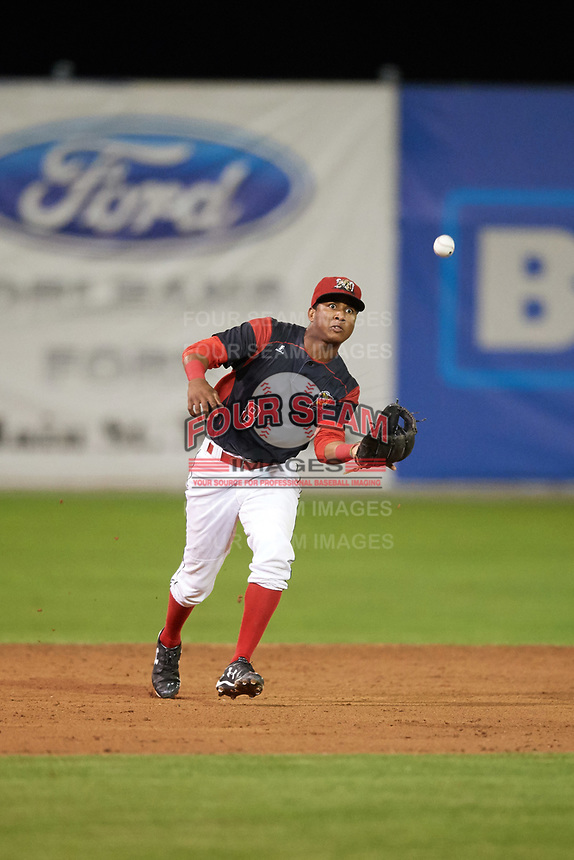 Batavia Muckdogs shortstop Marcos Rivera (8) attempts to field a hopper during a game against the Mahoning Valley Scrappers on August 29, 2017 at Dwyer Stadium in Batavia, New York.  Batavia defeated Mahoning Valley 2-0.  (Mike Janes/Four Seam Images)