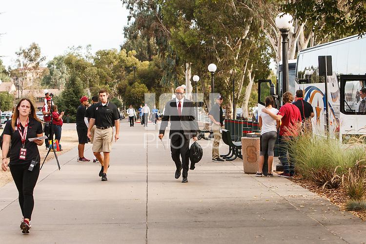 Stanford, CA - Thursday October 15, 2015: Team arrives before the Stanford UCLA game Thursday night at Stanford Stadium.<br /> <br /> Stanford won 56-35.