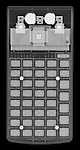 X-ray image of a calculator (white on black) by Jim Wehtje, specialist in x-ray art and design images.