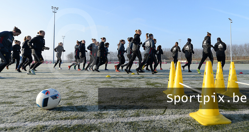 20170118 - TUBIZE , Belgium : illustration picture during a training session of the Belgian national women's soccer team Red Flames during their winter camp, on the 18 th of January in Tubize. PHOTO DIRK VUYLSTEKE | Sportpix.be