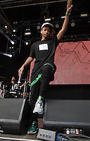 Jaden Smith comes out to perform with different shoes on  during The New Look Wireless Music Festival at Finsbury Park, London, England on Sunday 05 July 2015. Photo by Andy Rowland.