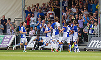 Ellis Harrison of Bristol Rovers (second right) celebrates scoring his side's third goal during the Sky Bet League 1 match between Bristol Rovers and Fleetwood Town at the Memorial Stadium, Bristol, England on 26 August 2017. Photo by Mark  Hawkins.