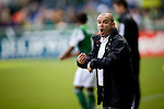 04/14/2011 - Timbers' Coach John Spencer yells at his players from the sideline as the Portland Timbers play FC Dallas during the Portland Timbers' second MLS home match at Jeld-Wen Field Sunday.  ..Photo by Christopher Onstott