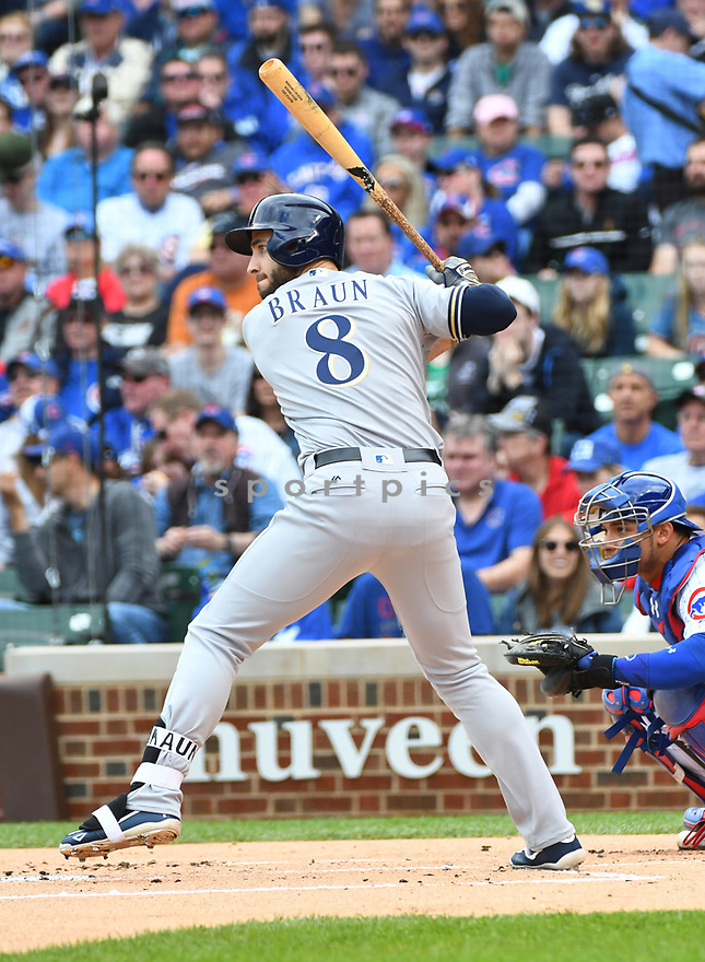 CHICAGO IL - May 21, 2017: Ryan Braun #8 of the Milwaukee Brewers during a game against the Chicago Cubs on May 21, 2017 at Wrigley Field in Chicago, IL. The Cubs beat the Brewers 13-6.(David Durochik/ SportPics)