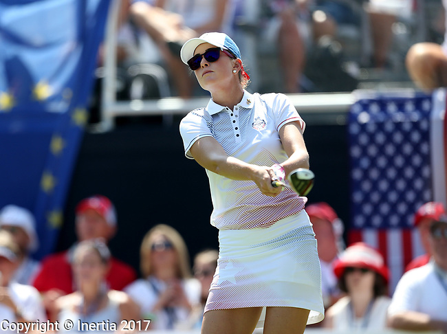 DES MOINES, IA - AUGUST 19: USA's Paula Creamer watches her tee shot on the 1st hole of their afternoon four-ball match Saturday at the 2017 Solheim Cup in Des Moines, IA. (Photo by Dave Eggen/Inertia)