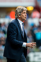 Manuel Pellegrini, Manager of Manchester City during the Barclays Premier League match between Swansea City and Manchester City played at the Liberty Stadium, Swansea on the 15th of May  2016