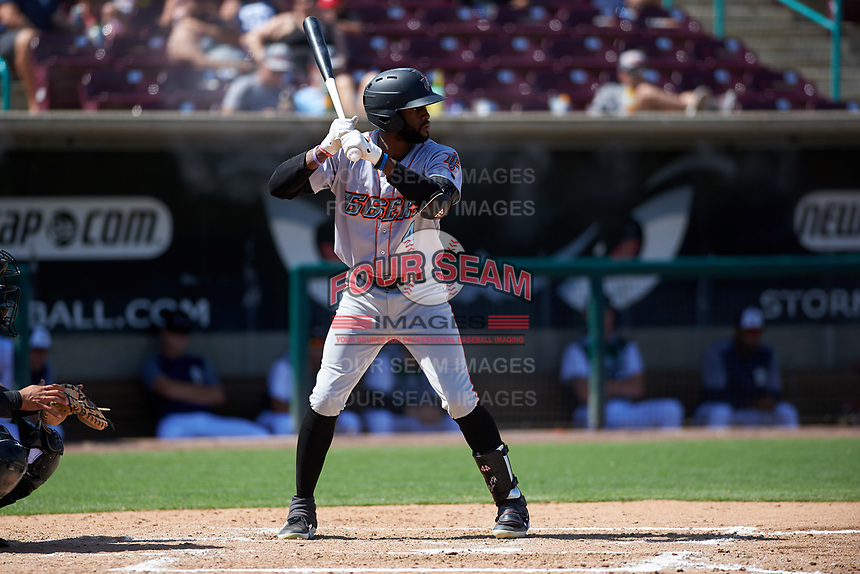 Inland Empire 66ers designated hitter Torii Hunter, Jr. (4) during a California League game against the Lake Elsinore Storm on April 14, 2019 at The Diamond in Lake Elsinore, California. Lake Elsinore defeated Inland Empire 5-3. (Zachary Lucy/Four Seam Images)