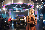 "Sabina Gadecki does a ""stand up"" in front of the WPT set."
