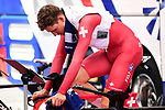 Riders warm up before Stage 13 of the 2019 Tour de France an individual time trial running 27.2km from Pau to Pau, France. 19th July 2019.<br /> Picture: ASO/Alex Broadway | Cyclefile<br /> All photos usage must carry mandatory copyright credit (© Cyclefile | ASO/Alex Broadway)