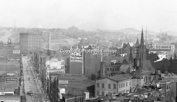 Building Advertising: for the following companies: Lyle Brothers Hardware, Home Trust Company of Pittsburgh, John Wallace Produce, Renwick Brothers Wholesale Millinery, J.C.Lindsay Hardware Company, Monongahela National Bank<br />