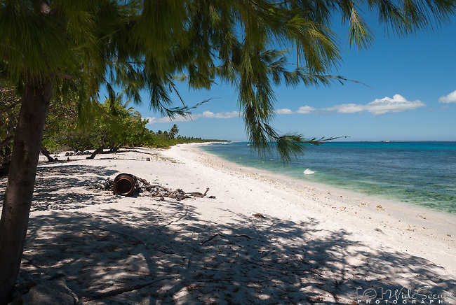 A beach on the remote island of Kiritimati in Kiribati