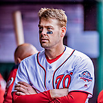 15 April 2018: Washington Nationals catcher Matt Wieters stands in the dugout during a game against the Colorado Rockies at Nationals Park in Washington, DC. All MLB players wore Number 42 to commemorate the life of Jackie Robinson and to celebrate Black Heritage Day in pro baseball. The Rockies edged out the Nationals 6-5 to take the final game of their 4-game series. Mandatory Credit: Ed Wolfstein Photo *** RAW (NEF) Image File Available ***