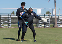 Lakewood Ranch, FL - Sunday Jan. 07, 2018: Jon Busch gives instruction to Justin Garces during an U-19 USMNT training session at Premier Sports Campus in Lakewood Ranch, FL.