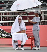 BOGOTA- COLOMBIA 23-07-2015: Adrian Mannarino de Francia durante partido del ATP Claro Open Colombia de Tenis en las canchas del Centro de Alto rendimiento en Altura en la ciudad de Bogota.  / Adrian Mannarino of France during a match to the ATP Claro Open Colombia of Tennis in the courts of the High Performance Center in Altura in Bobota City. Photo: VizzorImage / Luis Ramirez / Staff.