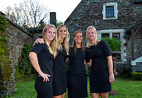 Arena Loire,  Tr&eacute;laz&eacute;,  France, 14 April, 2016, Semifinal FedCup, France-Netherlands, Official Diner,  Dutch team, Ltr: Richel Hogenkamp, Arantxa Rus, Cindy Burger  and Kiki Bertens, . <br /> Photo: Henk Koster/Tennisimages