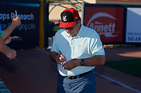 Hall of Fame Catcher Johnny Bench signs autographs before a Florida State League game between the Daytona Tortugas and Palm Beach Cardinals on April 11, 2019 at Roger Dean Stadium in Jupiter, Florida.  Palm Beach defeated Daytona 6-0.  (Mike Janes/Four Seam Images)