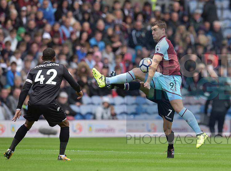 Burnley's Sam Vokes in action during the premier league match at the Turf Moor Stadium, Burnley. Picture date 10th September 2017. Picture credit should read: Paul Burrows/Sportimage