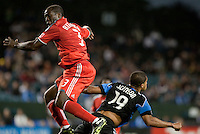 Nana Attakora (3) comes down after going up for the header against Ryan Johnson (19). Toronto FC defeated the San Jose Earthquakes 3-1 at Buck Shaw Stadium in Santa Clara, California on May 29th, 2010.