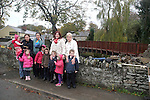Students and parents from Scoil Naomh Feichin, Laoise, Bridget, Aoibhe and Rian Jordan, Aoife McGroddy, Lily Chen, Rachel, Amelia and Jessica Campbell with Jake and Jayne Fahey at the new footbridge in Termonfeckin....(Photo credit should read Jenny Matthews www.newsfile.ie)....This Picture has been sent you under the condtions enclosed by:.Newsfile Ltd..The Studio,.Millmount Abbey,.Drogheda,.Co Meath..Ireland..Tel: +353(0)41-9871240.Fax: +353(0)41-9871260.GSM: +353(0)86-2500958.email: pictures@newsfile.ie.www.newsfile.ie.