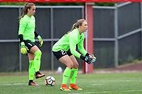 Piscataway, NJ - Sunday April 30, 2017: Kailen Sheridan, Caroline Casey during a regular season National Women's Soccer League (NWSL) match between Sky Blue FC and FC Kansas City at Yurcak Field.