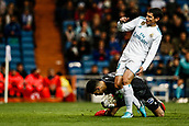 10th January 2018, Santiago Bernabeu, Madrid, Spain; Copa del Rey football, round of 16, 2nd leg, Real Madrid versus Numancia; Goalkeeper Munir Mohand (Numancia) stops the drive from Jesus Vallejo (Real Madrid)