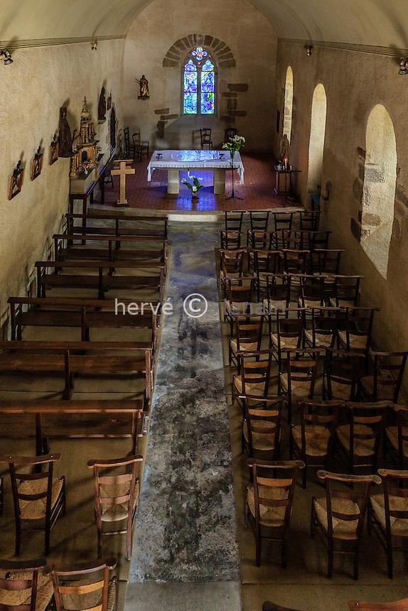 France, Corrèze (19), Voutezac, Le Saillant, chapelle du Saillant et vitraux de Marc Chagall // France, Correze, Voutezac, Le Saillant, Saillant chapel, stained glass windows by Marc Chagall
