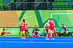 Helen Richardson-Walsh #8 of Great Britain passes across the circle to set up the goal during Great Britain vs USA in a women's Pool B game at the Rio 2016 Olympics at the Olympic Hockey Centre in Rio de Janeiro, Brazil.