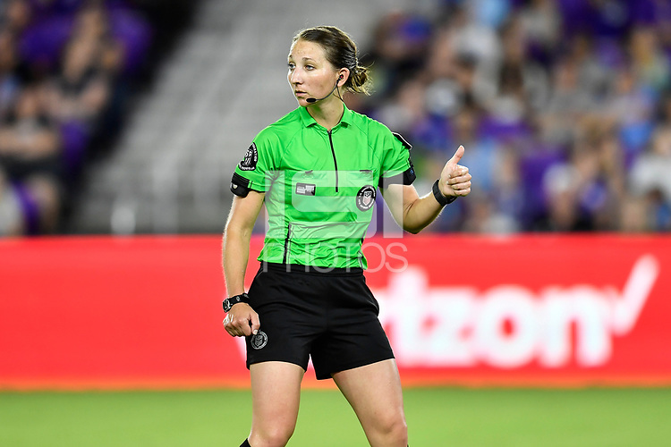 Orlando, FL - Saturday July 07, 2018: Referee, Danielle Chesky during the second half of a regular season National Women's Soccer League (NWSL) match between the Orlando Pride and the Washington Spirit at Orlando City Stadium. Orlando defeated Washington 2-1.