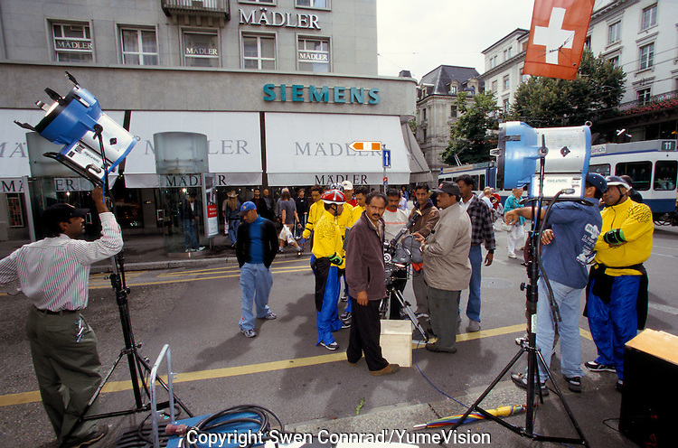 The shooting set of the Bollywood film ''Live only for you''Jeena Sirf Merre Liye'' at Paradeplatz in Zurich, Switzerland.
