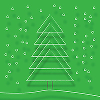 Simple line drawing of Christmas tree in snow