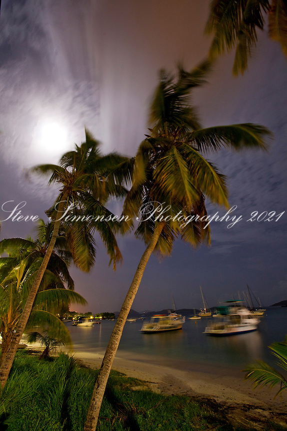 Night in Cruz Bay Harbor.St. John.U.S. Virgin Islands