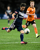 29th July 2020; Bankwest Stadium, Parramatta, New South Wales, Australia; A League Football, Melbourne Victory versus Brisbane Roar; Marco Rojas of Melbourne Victory prepares to take a shot as Corey Brown of Brisbane Roar closes in
