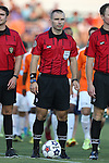 16 August 2014: Referee Chris Penso. The Carolina RailHawks played FC Edmonton at WakeMed Stadium in Cary, North Carolina in a 2014 North American Soccer League Fall Season match. Edmonton won the match 3-2.