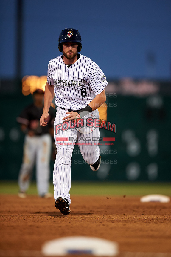 Lancaster JetHawks designated hitter Vince Fernandez (8) hustles towards third base during a California League game against the Visalia Rawhide at The Hangar on May 17, 2018 in Lancaster, California. Lancaster defeated Visalia 11-9. (Zachary Lucy/Four Seam Images)