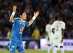 BOGOTÁ – COLOMBIA _ 19-04-2014 / En compromiso correspondiente a la fecha 18 del Torneo Apertura Colombiano 2014, Millonarios venció 3 – 1  a Deportes Tolima en el estadio Nemesio Camacho El Campín de Bogotá. / Dayro Moreno celebra el tercer tanto de Millonarios.