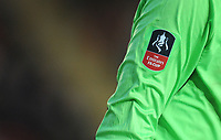 Closeup of Exeter City's James Hamon's shirt, showing the Emirates FA Cup logo<br /> <br /> Photographer Kevin Barnes/CameraSport<br /> <br /> Emirates FA Cup First Round - Exeter City v Blackpool - Saturday 10th November 2018 - St James Park - Exeter<br />  <br /> World Copyright © 2018 CameraSport. All rights reserved. 43 Linden Ave. Countesthorpe. Leicester. England. LE8 5PG - Tel: +44 (0) 116 277 4147 - admin@camerasport.com - www.camerasport.com