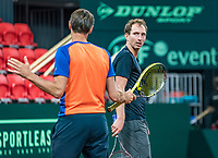 The Hague, The Netherlands, September 11, 2017,  Sportcampus , Davis Cup Netherlands - Chech Republic, training, Captain Paul Haarhuis (L) instructs Matwe Middelkoop (NED) <br /> Photo: Tennisimages/Henk Koster