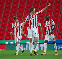 Peter Crouch of Stoke City celebrates his goal during the Carabao Cup match between Stoke City and Rochdale at the Britannia Stadium, Stoke-on-Trent, England on 23 August 2017. Photo by James Williamson / PRiME Media Images.